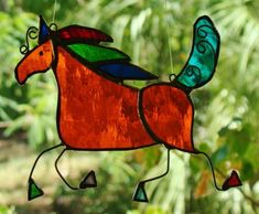 Andalusian Horse Arty Stained Glass Suncatcher Vibrant Orange Multi Colours Gift | eBay FREE SHIPPING $59