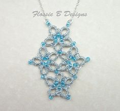 Silver and light blue tatted flower necklace tatted lace