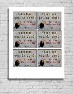 Printable Valentine's Cards  You Da Bomb  by ShopThreeFrenchHens