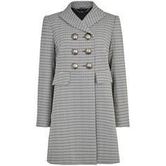 Alexander McQueen Houndstooth tweed coat featuring polyvore, women's fashion, clothing, outerwear, coats, hounds tooth coat, alexander mcqueen, double-breasted coat, tweed wool coat and alexander mcqueen coat