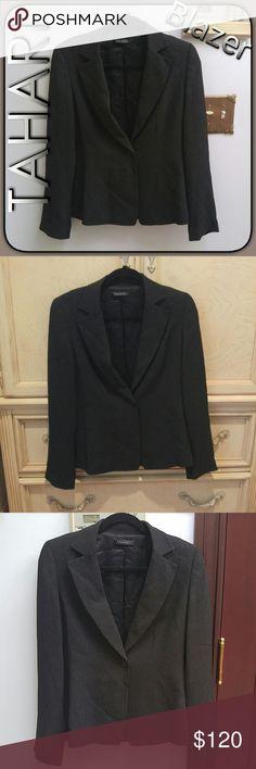 NWOT TAHARI CHARCOAL MODERN BOYFRIEND BLAZER Brand new w/o tags! Tahari blazer/sports jacket. One button on front, long sleeves, shoulder pads, 73% triacetate 27% Rayon. Women's Size 6. Beautiful deep charcoal. Fabulous!! Tahari Jackets & Coats Blazers