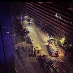 The fire trucks at Liam's flat. :(
