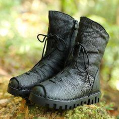 Women Retro Black Soft Cow Leather Side Zipper Lacing Boots