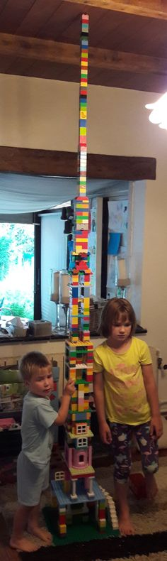 Stack them up! Here's a fun activity for a rainy afternoon: take all of your Duplo bricks and see if you can build a tower all the way to the ceiling.