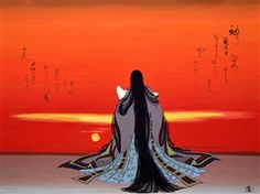 Agameishi (Japanese) - Evening Glow, 600 Scenes of Genji, Scene Paintings: Acrylic, Gouache on Paper over Wood Modern Novel, Polynesian Art, Heian Era, Artist Portfolio, Japanese Artists, Art Forms, Art History, The Book, Book Art