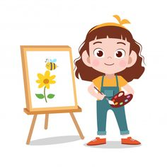 Happy kid draw flower painting Premium Vector | Premium Vector #Freepik #vector #flower #school #people #book