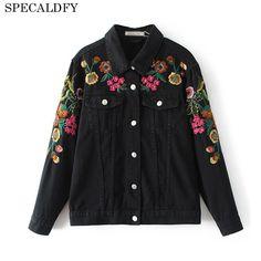 Floral Embroidery Black Denim Jacket Women Basic Coats 2017 Autumn Ethynic Vintage Jeans Jackets Coat Outwear Chaquetas Mujer #Affiliate