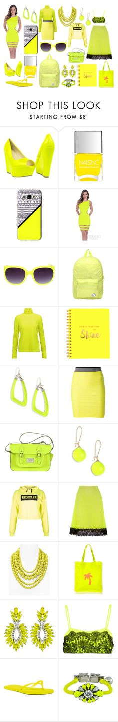 """""""Neon Yellow"""" by madmaggie20 on Polyvore featuring moda, Nails Inc., Casetify, Terani, Herschel, Delpozo, Eccolo, Alexis Bittar, Alexander Wang e New Look"""