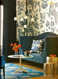 British Homes & Gardens Nov '10  (Wallpaper: Great Toile in Blue by Bennison)