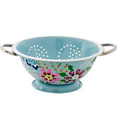 Hand painted stainless steel colander - blue - Rice DK