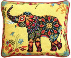 Painted Elephant Tapestry Kit - Contemporary needlepoint design *NEW*