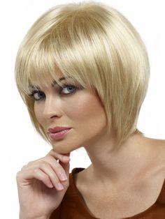 Short blonde hair with bangs