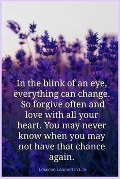 in the blink of an eye, everything can change ..