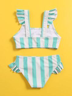 Bañador bikini ribete fruncido de rayas | Moda de Mujer | SHEIN México Bikinis, Swimsuits, Swimwear, Thing 1, Ruffle Trim, Toddler Girl, Retro, Fashion, Stripes