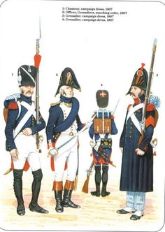 Napoleon's Guard Infantry 1-Chasseur, campaign dress 1807 2-Officer, Grenadiers…