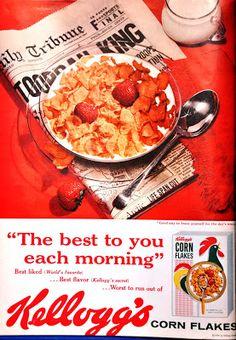 Vintage or retro photography, postcards, ads or other nostalgic finds. Original Corn, Retro Ads, Retro Posters, Vintage Ads, Restaurant Poster, Ice Cream Candy, Corn Flakes, Retro Recipes, Vintage Cookbooks