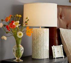 May pop off the wall beautifully in the foyer .Jordan Bone Inlay Table Lamp Base #potterybarn