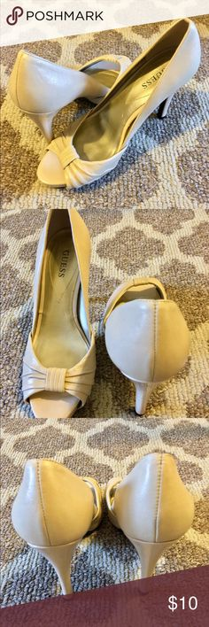 ‼️SOLD‼️GUESS Peep-Toe Pumps, Women's This is a pair of GUESS peep-toe high heeled shoes. Very comfortable for everyday wear. Size, 7M. Color, Nude. Heel height, 4 inches. Gently Used, Excellent Condition.  ‼️ I offer 5% discount when you buy 2 or more items from my closet. I accept reasonable offer. Happy Poshing!!!😊 Guess Shoes Heels