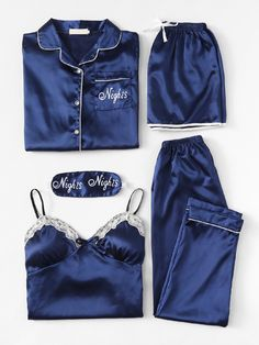 Brief drucken Cami Pyjama Set mit Hemd Nur Cute Sleepwear, Lingerie Sleepwear, Nightwear, Sexy Pyjamas, Silk Pajamas, Cute Pajama Sets, Cute Pajamas, Jolie Lingerie, Cute Lingerie