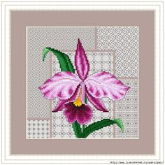 Please Cross Stitch Orchid Surrounded By Lacy Blackwork Here… Blackwork Cross Stitch, Blackwork Embroidery, Cross Stitch Pillow, Cross Stitch Boards, Cross Stitching, Cross Stitch Embroidery, Embroidery Patterns, Cross Stitch Patterns, Butterfly Cross Stitch