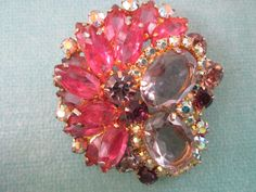 Vintage Pink Rhinestone Brooch Authentic Juliana, Delizza & Elster by MiCoseBella on Etsy https://www.etsy.com/listing/224737954/vintage-pink-rhinestone-brooch-authentic