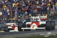 Alain Prost leads Niki Lauda, both McLaren MP4/2B TAG Porsche