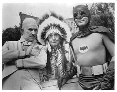Publicity shot from the 1960s Batman television show, with Vincent Price as 'Egghead', Edward Everett Horton as Chief Screaming Chicken and Adam West as Batman.