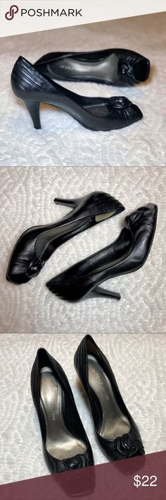 "Antonio Melani Open-Toe Knot Pumps Gorgeous black leather w/ knot at the toe • gold interior lining • extra padding at the heel • 4"" heel • excellent condition ANTONIO MELANI Shoes Heels"