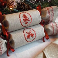 Natural Linen Reusable Christmas Cracker