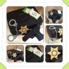 Law enforcement birthday cake with gun made of Rice Krispie treat. Gun case, gun, badge, handcuffs, notepad, Glock, deputy sheriff, sergeant.   www.facebook.com/cakeitorleaveitcakesbymarianne