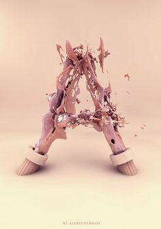 Alphabet créatif 3D de la lettre A pour l'inspiration