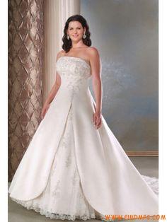 On-line Clássico tomara que caia Linha-A Aplique Cetim Renda Elegante vestidos de noiva