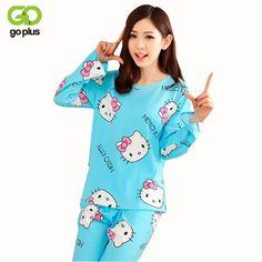 GOPLUS Women Pajamas Hello Kitty Sleepwear Sets Soft Pajamas Women  Nightgown Fashion Style Pajama Sets Pyjama Femme C2005-in Pajama Sets from  Women s ... ac3480069