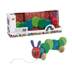 Adorable 30cm long wooden pull along Hungry caterpillar that sways as it 'walks'.  Recommended age 1+