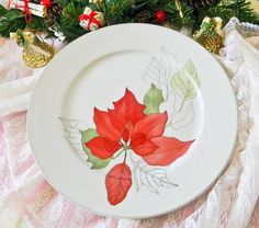 "Block Spal ""Watercolors Poinsettia"" 10 inch Dinner or Collector Plate 1984 by ODeerMercantile on Etsy Christmas China, Some Cards, Poinsettia, Dinner Plates, Watercolors, Decorative Plates, Display, Tableware, Pretty"