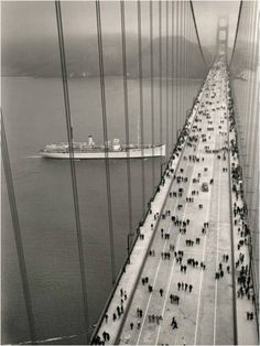 The Golden Gate Bridge opened on May linking Marin to San Francisco. Pedestrians had the bridge to themselves on opening day. The next day, cars started crossing. (Photo provided by the Golden Gate Bridge District) Ponte Golden Gate, Golden Gate Bridge, Baie De San Francisco, 6 Photos, Rare Photos, Eyes Photos, To Infinity And Beyond, Vintage Photography, Digital Photography