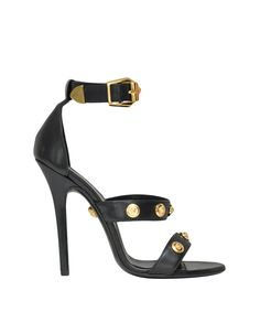 Versace Leather sandal | $ 2,442.00 Spring/Summer 2013 sandal in black leather with adjustable ankle strap and gilded metal Medusa detailing. Heel height: 9,5 cm  I love them all wish I had that kind of money to spent on shoes lol Lindelepalais.com 13099