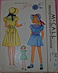 McCall 753: Girls' dress and hat