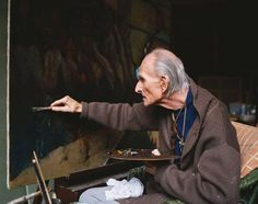 Balthus dans son atelier, documentaire « Balthus Through the Looking Glass » par Damian Pettigrew, 1996 ©