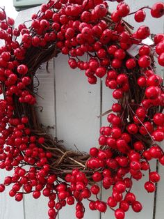 Valentine Wreath  Red Berry Wreath   Grapevine Wreath  Red Wreath  Door Wreath  Hand Crafted Wreath  Holiday Wreath by donnahubbard on Etsy