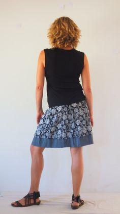 Black and white skirt, Cotton mini skirt, Elastic waist skirt, Reversible skirt, A line skirt, short skirt, Crinkle Skirt, Bohochic,  Gray by TaliaDesignerClothes on Etsy