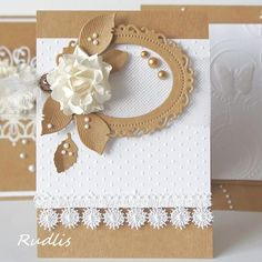 handmade card ... kraft and white ... gorgeous white dimensional flower ... elegant look ... pearls & lace ...