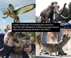 Animals in the ARC: Rex, Mammoth, Nancy & Sid.  #Primeval