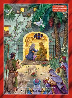Peaceful Nativity Chocolate Advent Calendar | Chocolate Advent Calendars | Vermont Christmas Co. VT Holiday Gift Shop | Illustrated by Randy Wollenmann