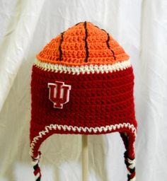 Indiana University Basketball Crochet Ear Flap Hat by CDBSTUDIO, $19.99
