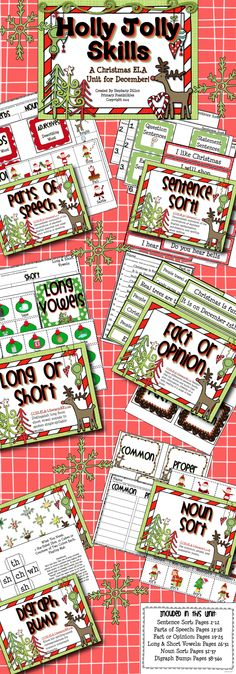Included in this unit are 6 small group or station activities that practice different language and reading skills. Fact & Opinion, Common/Proper/Possessive Nouns, Long & Short Vowels, Digraph Bump, Parts of Speech Sort, Exclamatory/Statement/Question Sentence Sort.  This super cute unit is sure to keep your students engaged and in the Christmas spirit! $