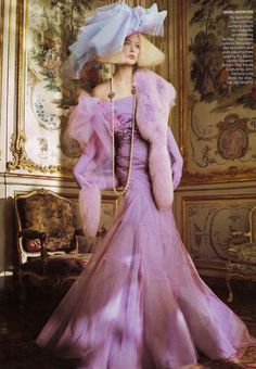 Raquel Zimmermann in Christian Dior Haute Couture by John Galliano, photographed by Patrick Demarchelier for Vogue US, 2007 Dior Haute Couture, Style Couture, Haute Couture Dresses, Vogue Editorial, Editorial Fashion, John Galliano, Galliano Dior, Christian Dior, Édito Vogue