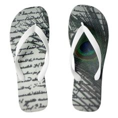 Peacock Journal Flip Flops. Unique peacock design with an amazing peacock feather.  The words of a journal in the background make the design complete.
