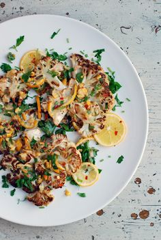roasted cauliflower, meyer lemon relish