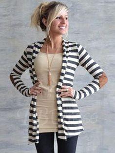 TBDress - TBDress Slim Stripe Long Sleeves Womens Cape - AdoreWe.com
